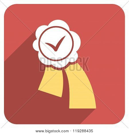 Validation Seal Flat Rounded Square Icon with Long Shadow