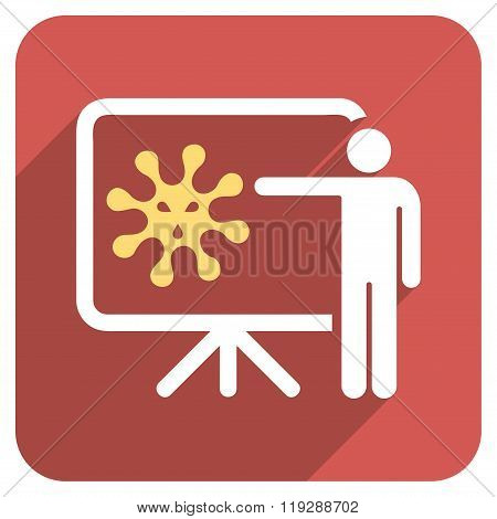 Virus Lecture Flat Rounded Square Icon with Long Shadow
