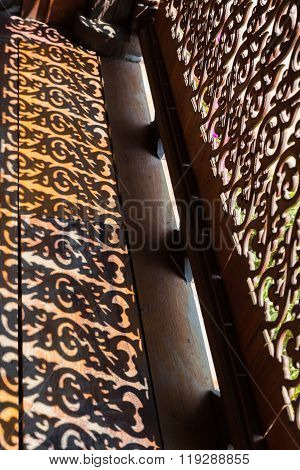 Shadow Of Sculpture Of Wooden Bannister