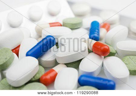 Heap of medicine pills
