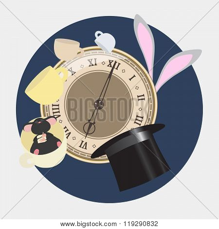 Alice In Wonderland. Mad Tea Party With Hatter, Dormouse, White Rabbit. Alice In Wonderland. Retro I