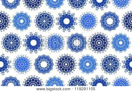 Elaborate circle ornaments in row