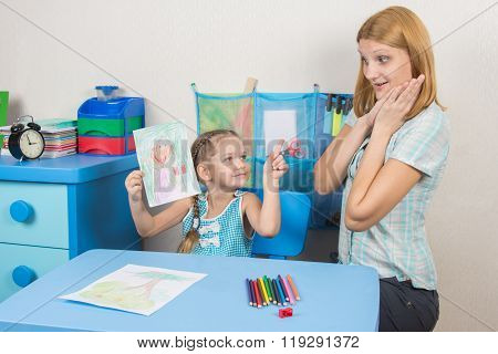 Five-year Girl Painted A Mother And Shows Her Mother Surprised And Happy