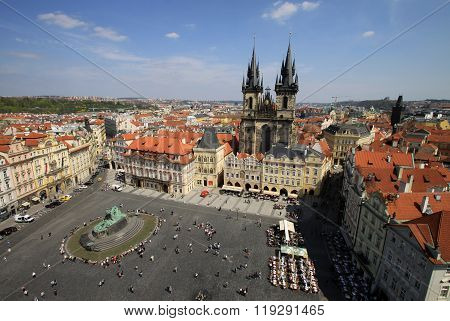 Prague, Czech Republic - April 24, 2013: Church Of Our Lady Before Tyn On Old Town Square, Prague, C