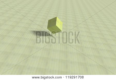 Geometrical Cube On Mosaic Surface