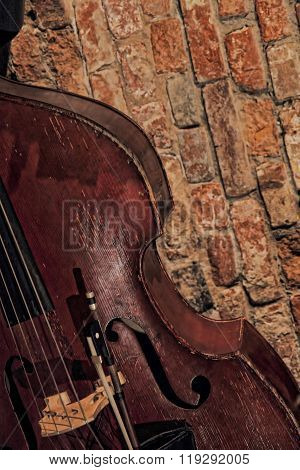 Contrabass Near Brick Wall.