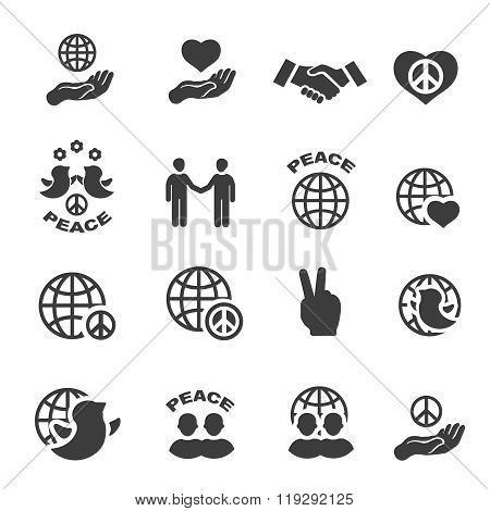 Peace icons set vector symbols