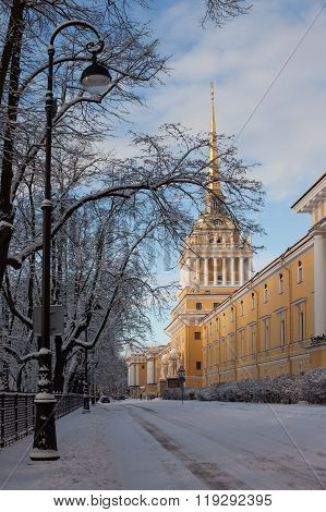 Russia. St. Petersburg. A view of the Admiralty in winter