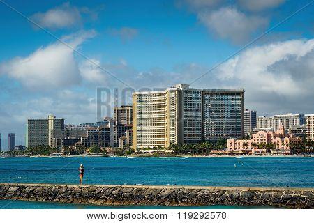 At Waikiki Beach, Honolulu, Hawaii, USA