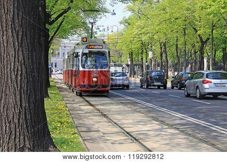 Vienna, Austria - April 25, 2013: City Tram On Wiener Ringstrasse