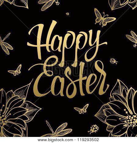 Happy Easter gold sign symbol logo on black background