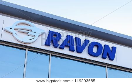 Ravon Automobile Dealership Sign Against The Sky