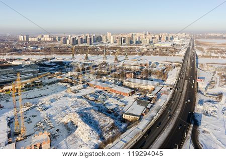 Port and bridge on Tura river in Tyumen. Russia