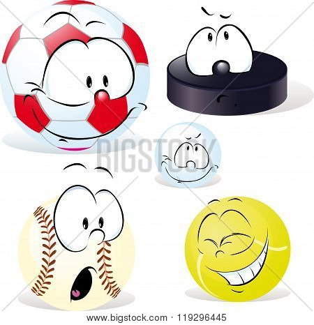 funny sport ball with face isolated on white - vector illustration