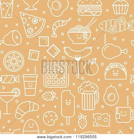 Seamless pattern with line icons of fast food