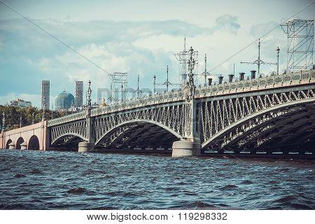 Trinity bridge Saint Petersburg