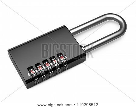 Black Combination Letter Padlock With Login On White With A Drop Shadow