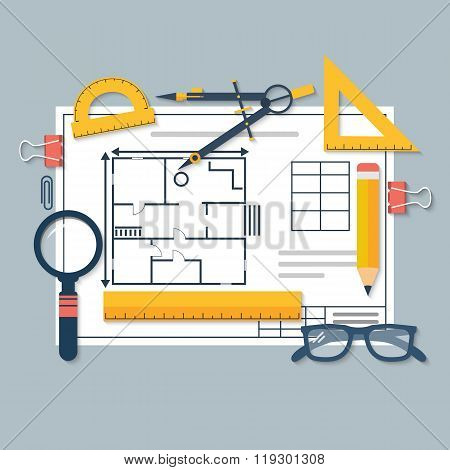 Architectural Blueprints And Drawing Tools. Workplace Of Architect
