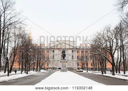 Mikhailovsky Castle And The Monument To Peter The Great. Winter, St. Petersburg