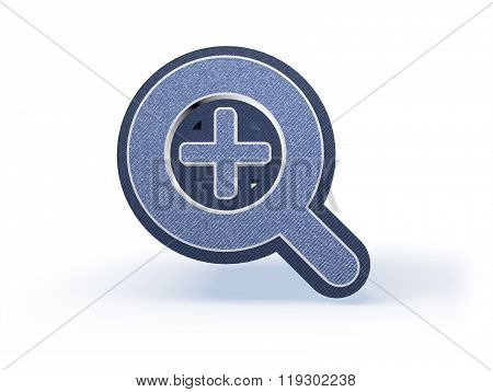 Magnifier Plus Shopping Icon In Blueish Denim Look