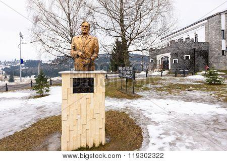 PIATRA FANTANELOR, ROMANIA - FEBRUARY 2016: Bram Stoker Monument