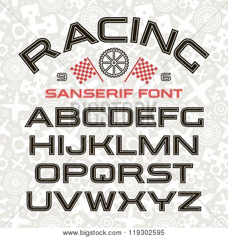 Sanserif Font In Retro Racing Style