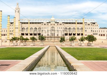 BARCELONA, SPAIN - JUNE 12: stadium in Barcelona, Spain. Originally built in 1927 for the 1929 International Exposition, it was renovated in 1989 to be the main stadium for the 1992 Olympics.
