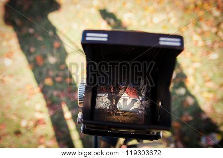 Vintage camera viewfinder