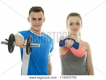 Teenagers Working Out With Dumbbells