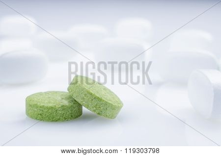 Medicine green pills