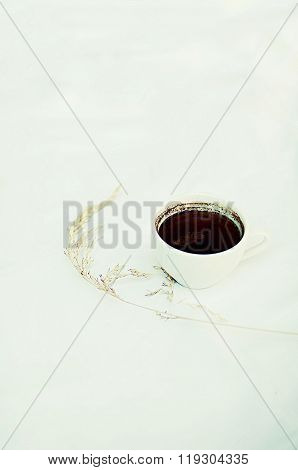 A Cup Of Coffee On White Background. Cup Of Coffee Isolated On White Background. Coffe With Milk Whi