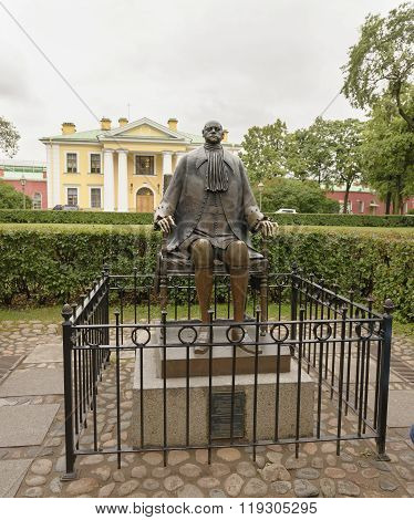 Monument to the Russian Emperor Peter 1 in the Peter and Paul Fortress in St. Petersburg