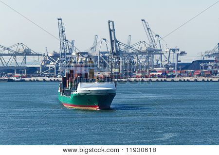 Containership On The River With Industrial Background