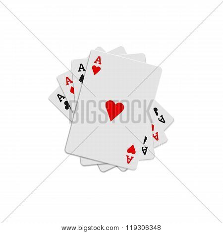 Four aces playing cards icon, realistic style