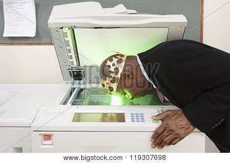 Man photocopying face