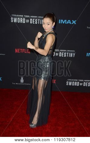 LOS ANGELES - FEB 22:  Juju Chan at the Crouching Tiger  Hidden Dragon - Sword of Destiny Premiere at the AMC Universal Citywalk on February 22, 2016 in Universal City, CA