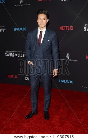 LOS ANGELES - FEB 22:  Harry Shum Jr at the Crouching Tiger  Hidden Dragon - Sword of Destiny Premiere at the AMC Universal Citywalk on February 22, 2016 in Universal City, CA