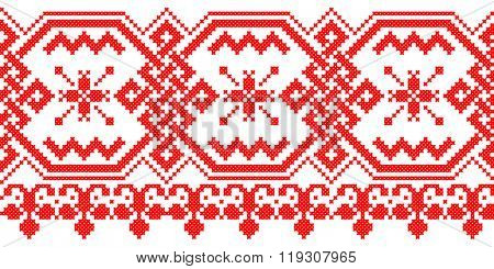 red embroidered good like handmade cross-stitch ethnic Ukraine pattern. celtic ornament