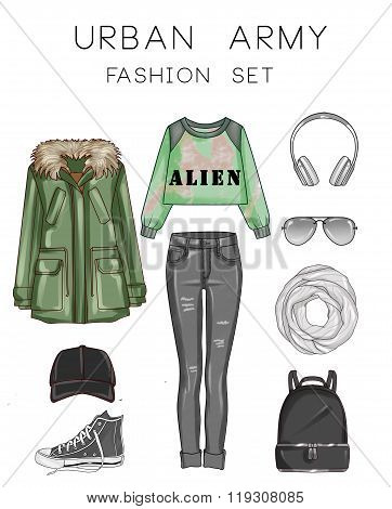 Fashion set of woman's clothes and accessories - Green Military Parka, Black ripped jeans, sneakers,
