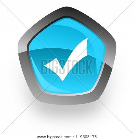 accept blue metallic chrome web pentagon glossy icon