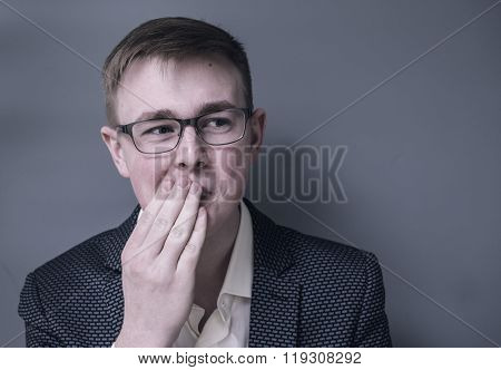 Man looking surprised in full disbelief wide open mouth