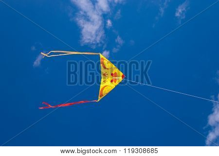 Soaring kite on the background of blue sky
