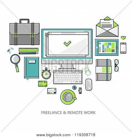 Freelance and remote work - vector illustration linear flat style color