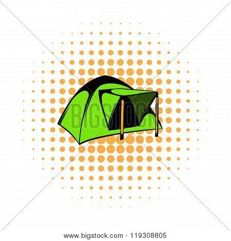 Blue dome tent icon, comics style