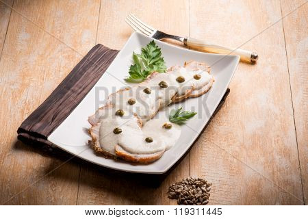 vitello tonnato - veal with tuna sauce and capers