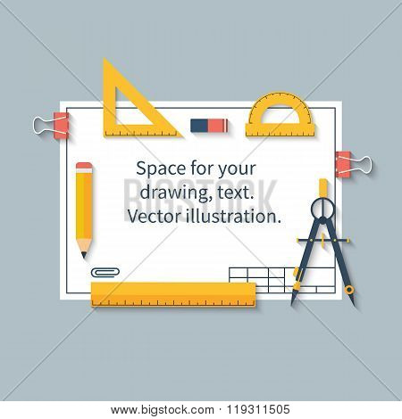 Drawing Tools On Paper With Space For Drawings And Text. Ruler, Protractor, Compass, Pencil, Paper.