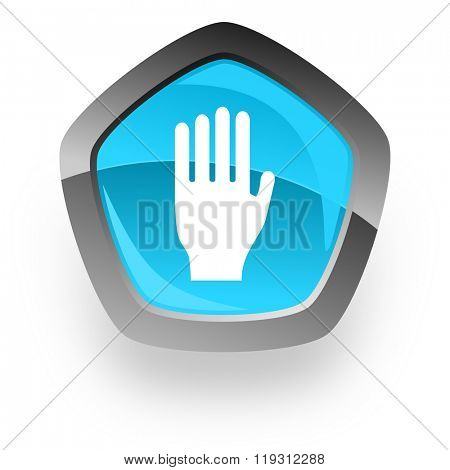 stop blue metallic chrome web pentagon glossy icon