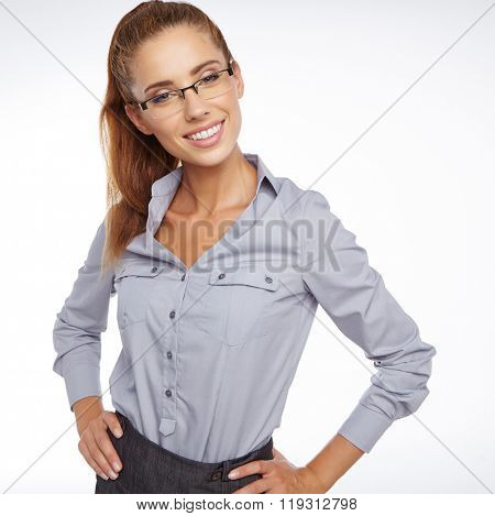 business woman in glasses. isolated studio shoot