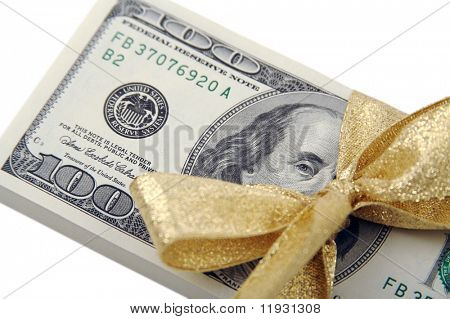 One Hundred Dollar Bills Wrapper in Gold Ribbon.