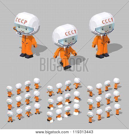 Low poly soviet cosmonaut